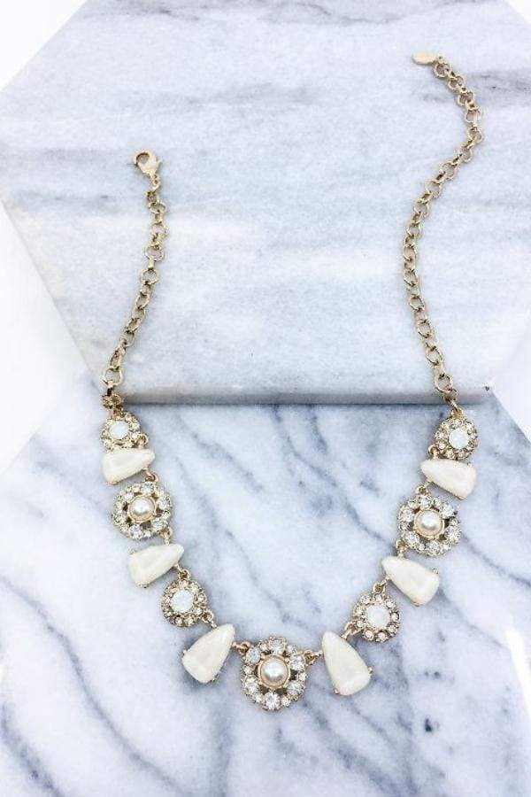 Rhinestone Pearl Statement Necklace-Article & Thread Boutique