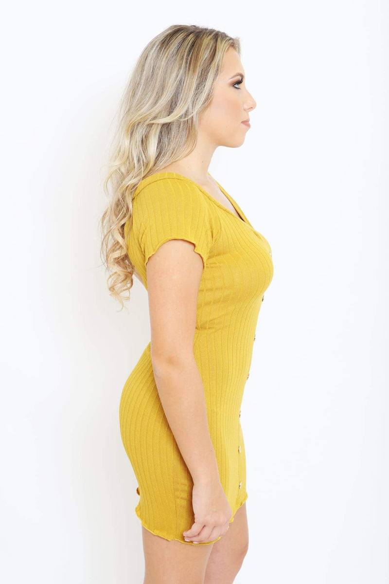 Rib Knit Button Down Dress-Article & Thread Boutique