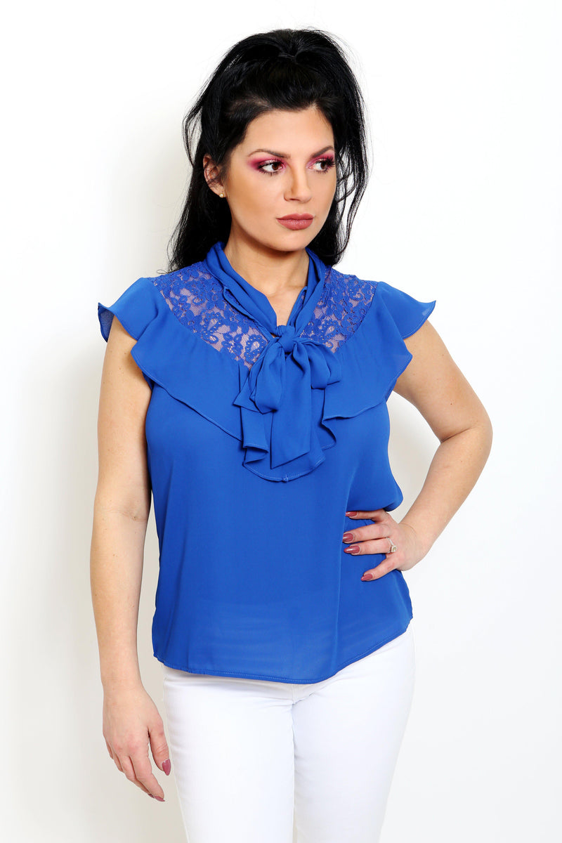 Royal Blue Ruffle Neck Blouse-Article & Thread Boutique