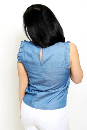 Ruffled Chambray Denim Top-Article & Thread Boutique