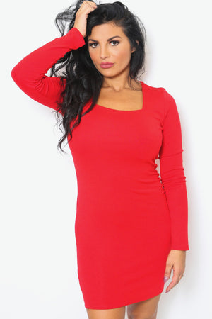 Scarlet Red Long Sleeve Mini Dress-Article & Thread Boutique
