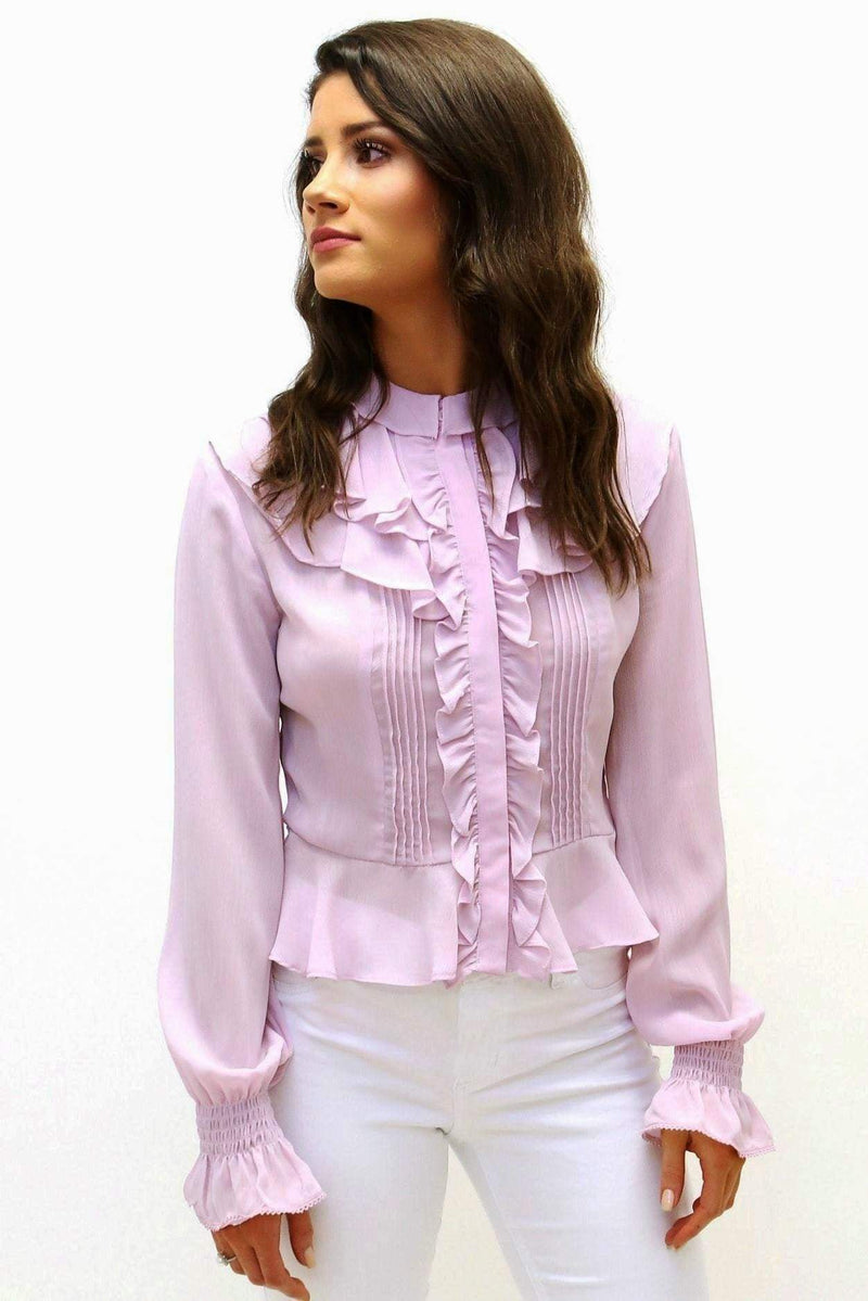 Semi-Sheer Ruffle Blouse-Article & Thread Boutique