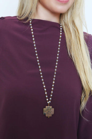 Stone Cross Pendant Beaded Necklace-Article & Thread Boutique
