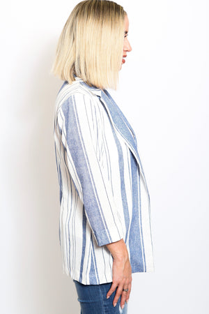 Striped Linen Boyfriend Blazer-Article & Thread Boutique