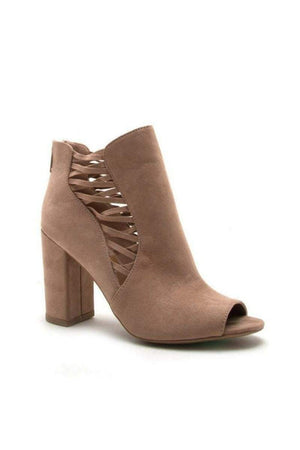 Taupe Peep Toe Bootie-Shoes-Article & Thread