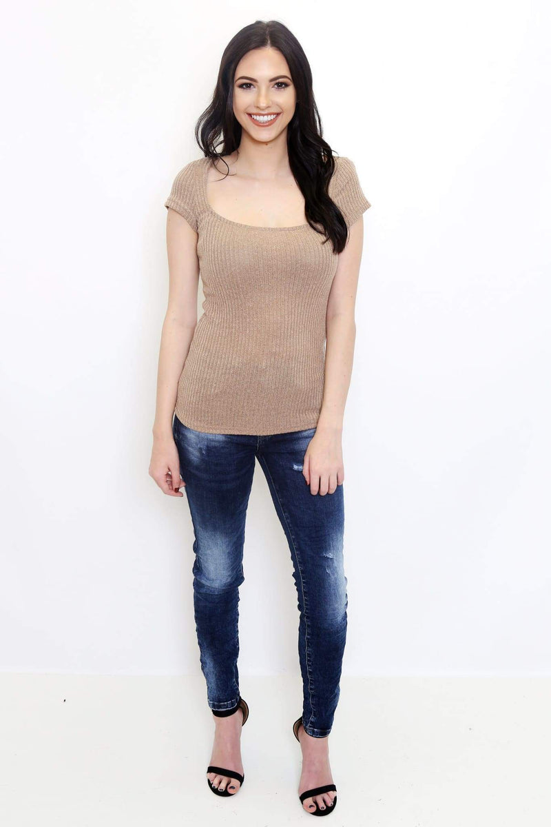 Taupe Scoop Neck Ribbed Top-Article & Thread Boutique