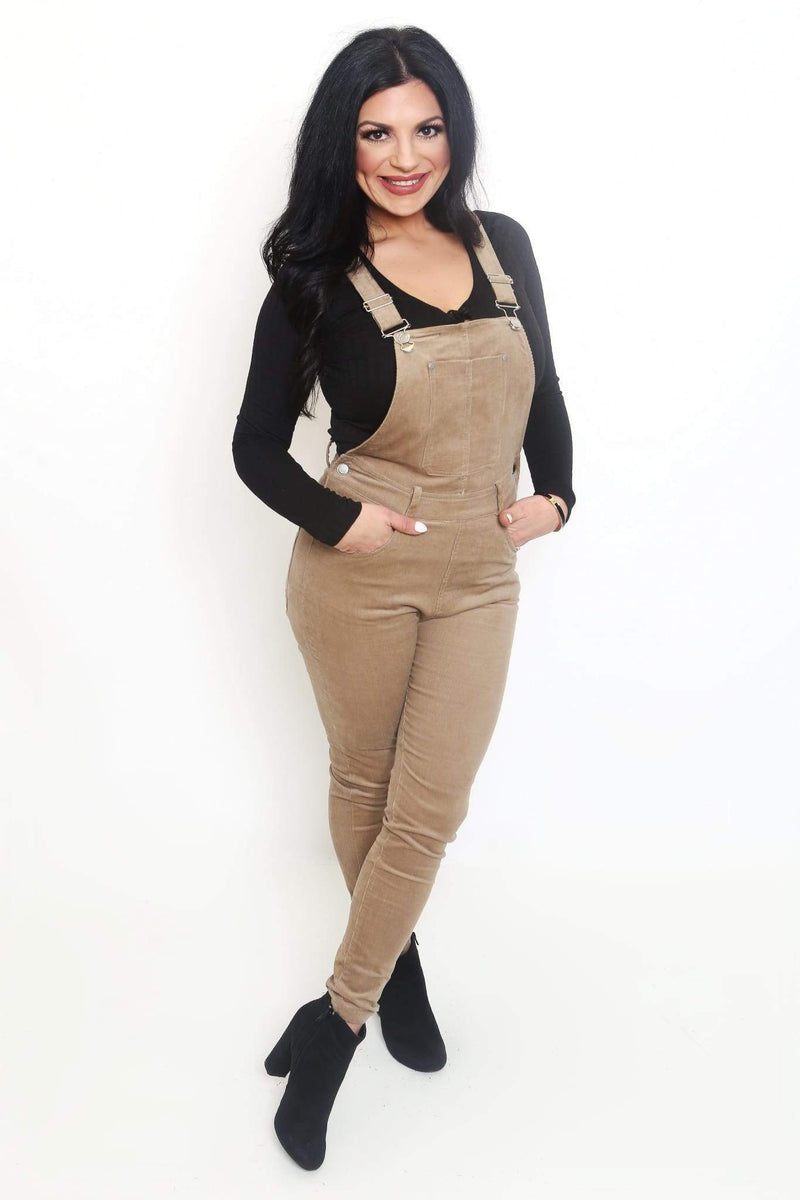 Taupe Stretch Corduroy Overalls-Article & Thread Boutique