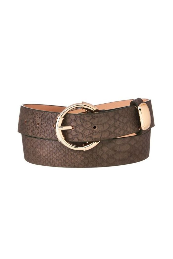 Textured Brown Snake Print Belt-Article & Thread Boutique