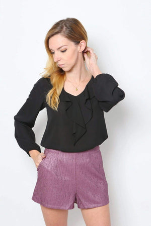 Textured Fabric Side Pocket Shorts-Article & Thread Boutique