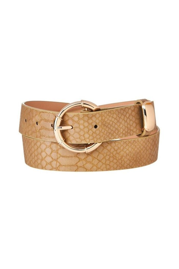Textured Taupe Snake Print Belt-Article & Thread Boutique