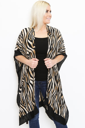 Tiger Print Kimono Cardigan-Article & Thread Boutique