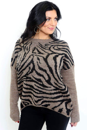 Tiger Print Long Sleeve Sweater-Article & Thread Boutique
