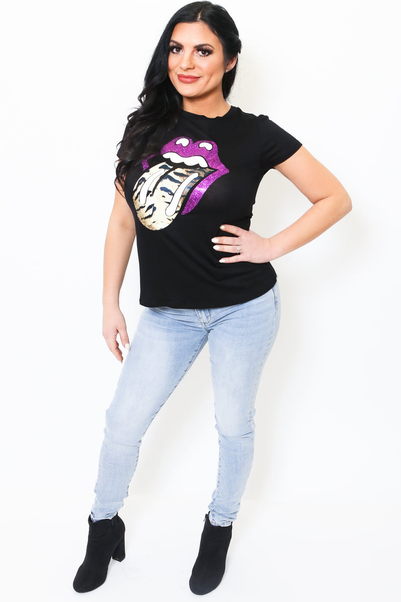 Tiger Print Tongue Tee-Article & Thread Boutique