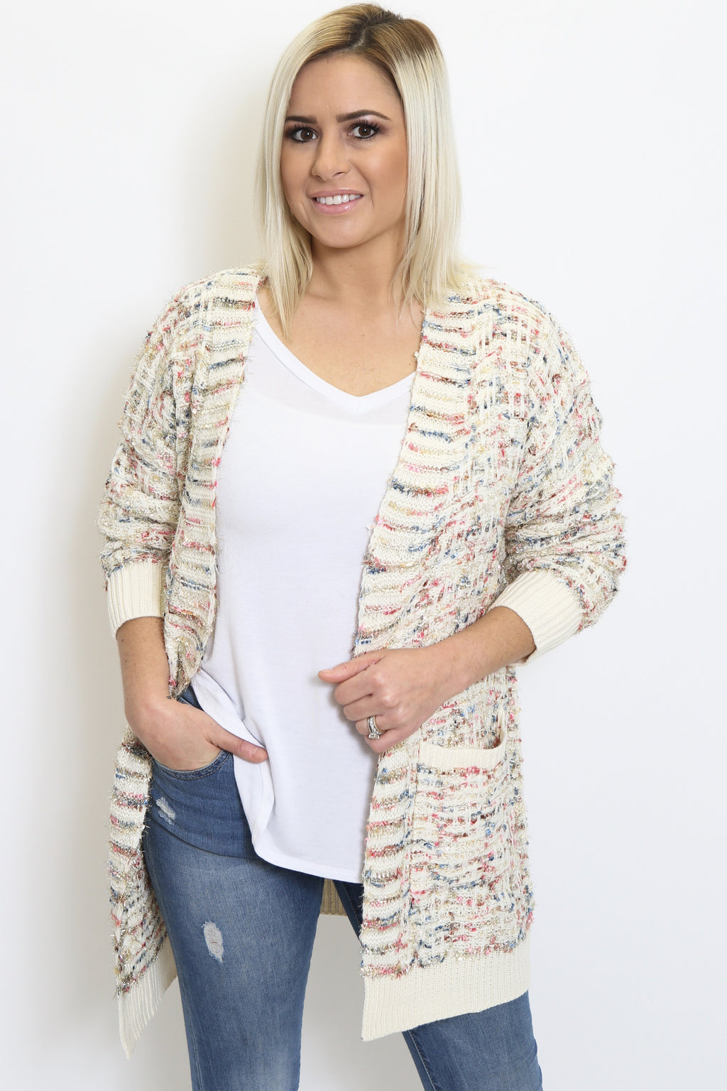 Tweed Pattern Open Cardigan-Article & Thread Boutique