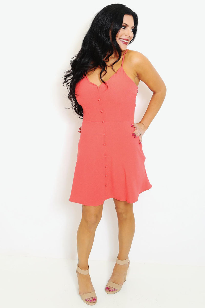 V-Neck Coral Skater Dress-Article & Thread Boutique