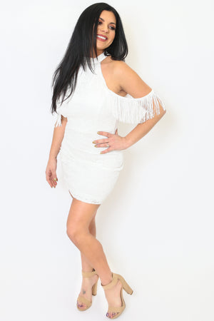 White Fringe Shoulder Dress-Article & Thread Boutique