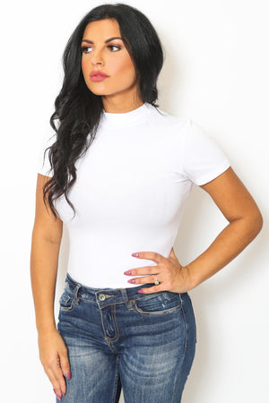 White Short Sleeve Mock Neck Bodysuit-Article & Thread Boutique