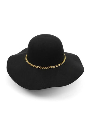 Wide Brim Floppy Hat With Gold Chain-Article & Thread Boutique
