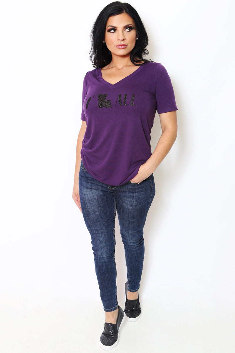 Y'all V-Neck Relaxed Tee-Article & Thread Boutique