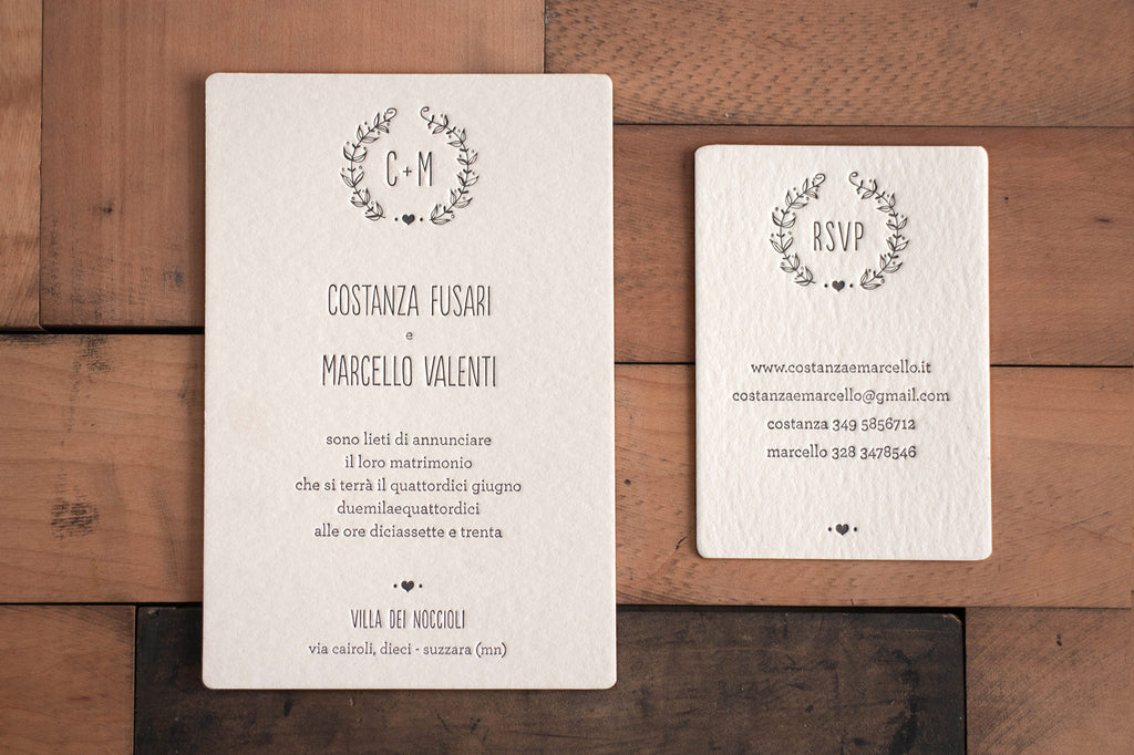 Letterpress wedding Costanza e Marcello