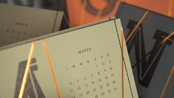 Calendario Letterpress da parete 2019