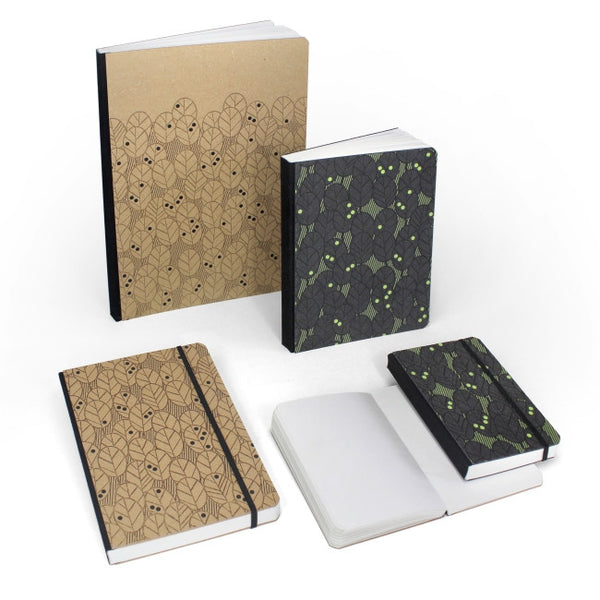 "Notebook A6 in ricuoio ""Leaves"""