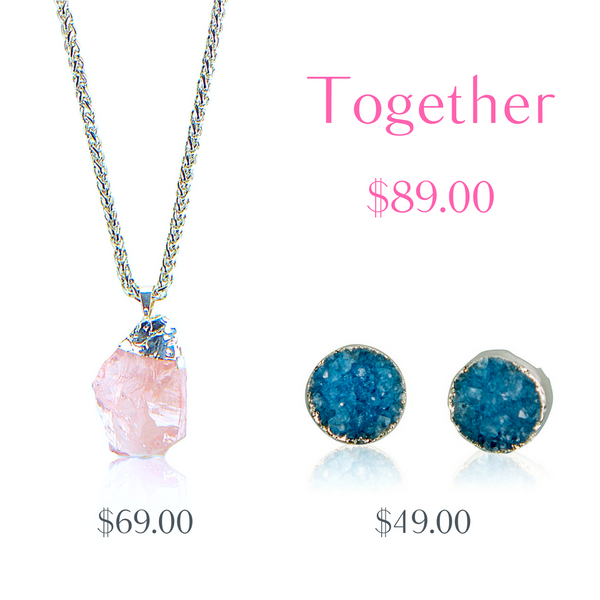 Rose Quartz Necklace and Blue Druzy Studs - AGOOA Inspiring and Natural Jewelry that Empowers You