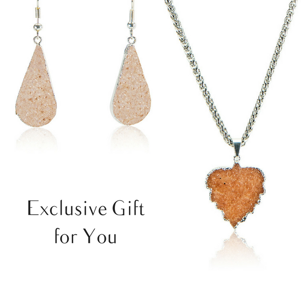Perfect Glow Druzy Earrings and Leaf Shape Necklace - AGOOA Inspiring and Natural Jewelry that Empowers You