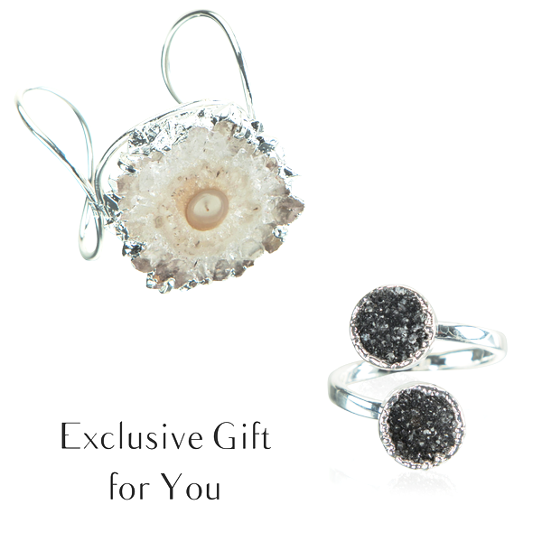 FREE Double Black Druzy Ring | Stalactite Bracelet | Amazing Jewelry Deals | Gifts for Valentine's Day | AGOOA Jewelry