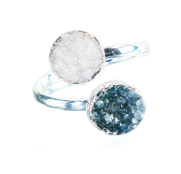 Day to Night Double Druzy Ring - AGOOA Inspiring and Natural Jewelry that Empowers You