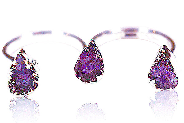 Triple Purple Amethyst Ring | Natural Jewelry | AGOOA Jewelry | Best Jewelry