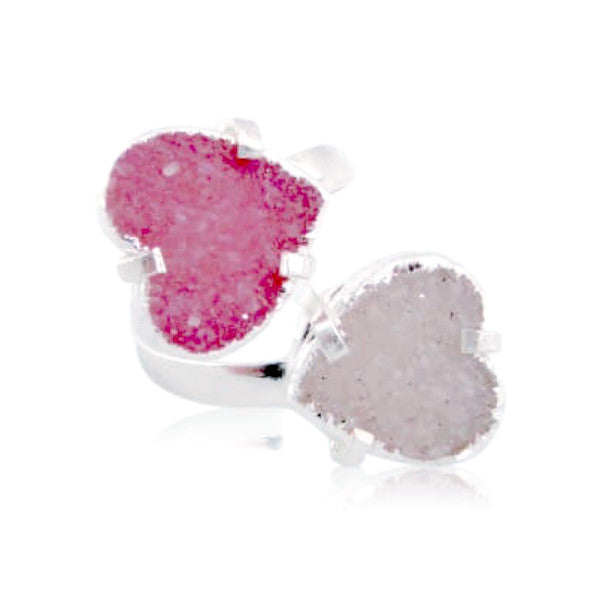 Double Druzy Hearts Ring| Natural Jewelry | AGOOA Jewelry | Best Jewelry