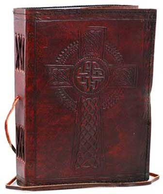 Celtic Cross Leather Blank Book with Cord