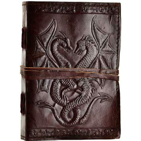 Double Dragon Leather Blank Book with Cord