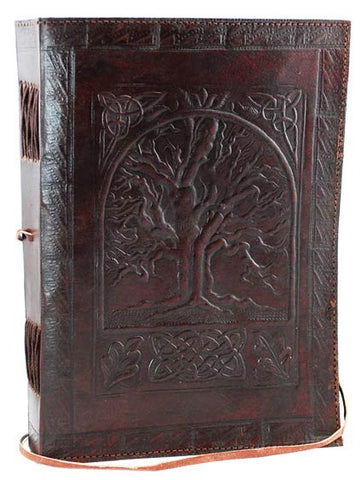 Tree of Life Leather Blank Book with Cord