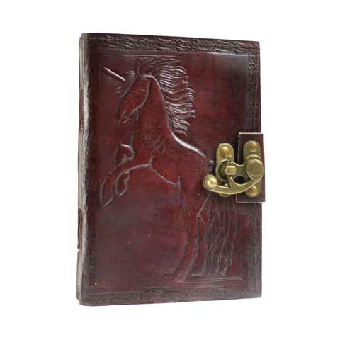 Unicorn Leather Blank Book with Latch