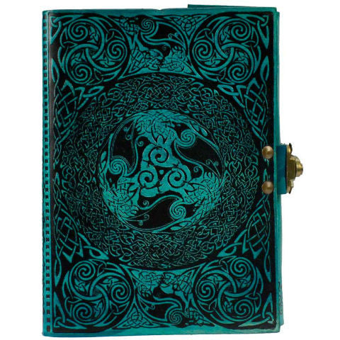 Blue Celtic Leather Blank Book with Latch