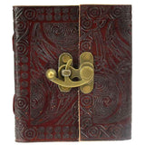 "Pentagram Leather Blank Book with Latch 4 1/2"" x 5"""