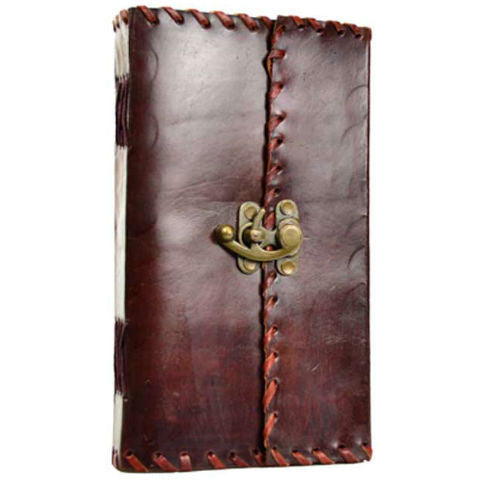 "1842 Poetry Leather Blank Book with Latch 5"" x 9"""