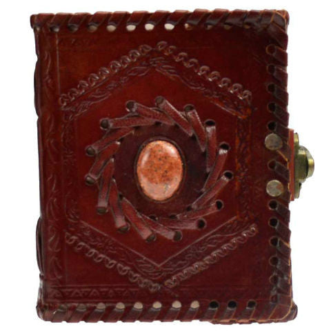 "God's Eye Stone Embossed Leather Blank Book with Latch 4"" x 5"""