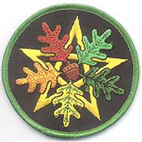 Oak Leaf Pentagram Iron-On Patch