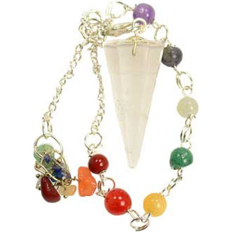 7 Chakra 6-Sided Clear Quartz Pendulum