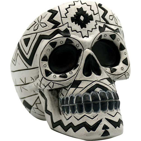 Black and White Aztec Skull Ashtray