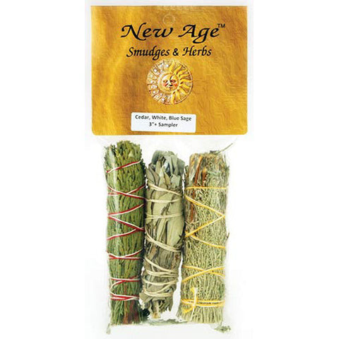 Cedar, White and Blue Sage Smudge Stick (3-pack)