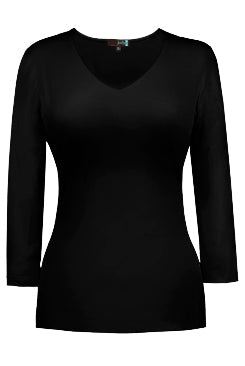 JudyP V-Neck 3/4 Sleeve Top in Black