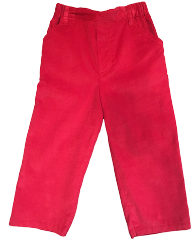 Bella Bliss Featherwale Corduroy Faux Zip Pant in Red