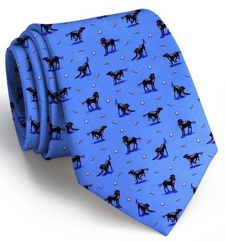 Bird Dog Bay Black Lab Heaven Necktie in Blue