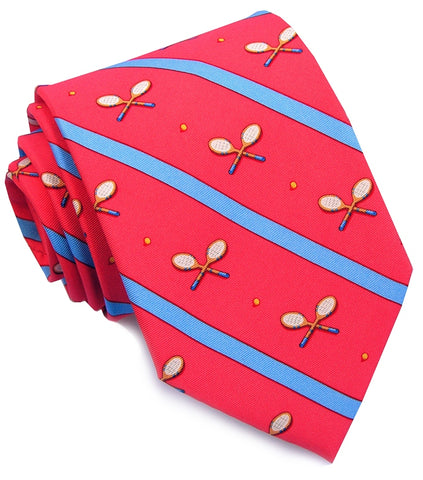 Bird Dog Bay What a Racket Necktie in Coral