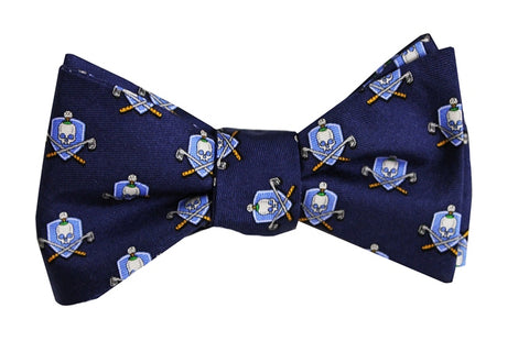 Bird Dog Bay Skull and Cross Clubs Bow Tie in Navy