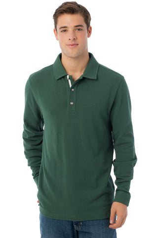 Long Sleeve Outdoor Polo in Pineneedle
